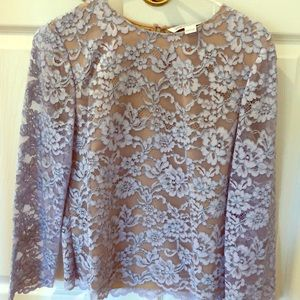 DVF Belle lace top, size 10, lilac & nude lace.